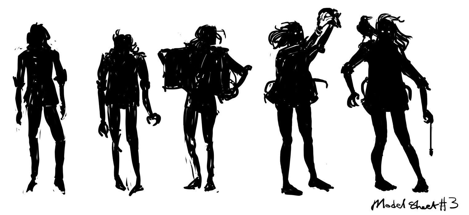 five silhouettes sketch
